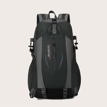 Men Letter Graphic Large Capacity Backpack