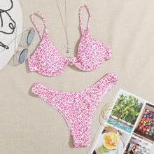 Allover Print Underwire High Cut Bikini Swimsuit