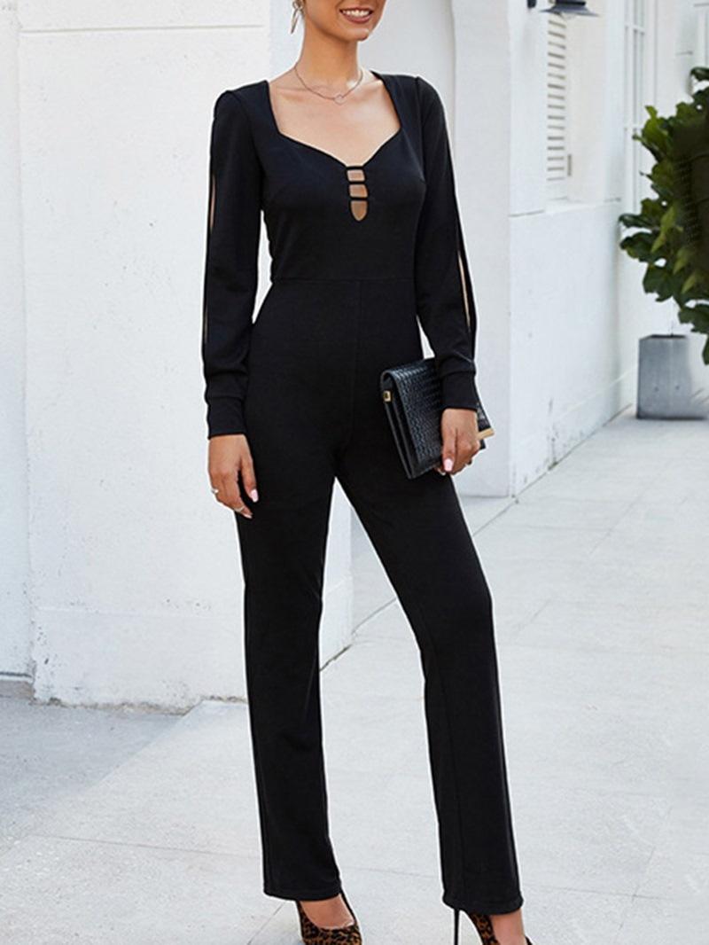 Ericdress Casual Full Length Plain Slim Jumpsuit
