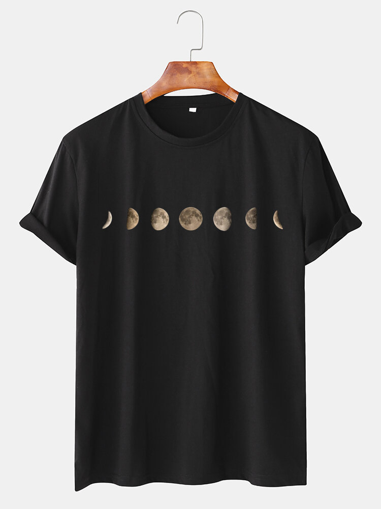 Mens 6 Color Eclipse Graphic Pritned Round Neck Short Sleeve T-shirt