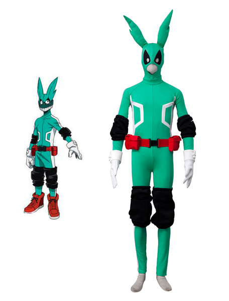 Milanoo Deku Cosplay Boku No Hero Academia Izuku Midoriya Cos BNHA 7 Pieces Green Cosplay Costume