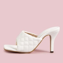 Quilted Open Toe Stiletto Heeled Mules