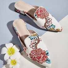 Floral Graphic Loafer Mules