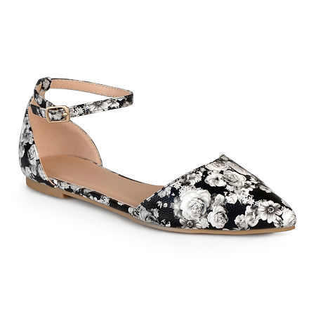 Journee Collection Womens Reba Ankle-Strap Ballet Flats, 8 Medium, White