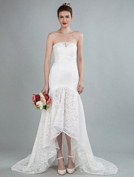 Milanoo Simple Wedding Dress Strapless Sleeveless Lace Mermaid Bridal Gowns With Train
