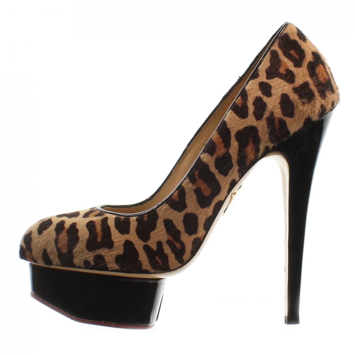 Charlotte Olympia \N Black Leather Heels for Women 38 EU