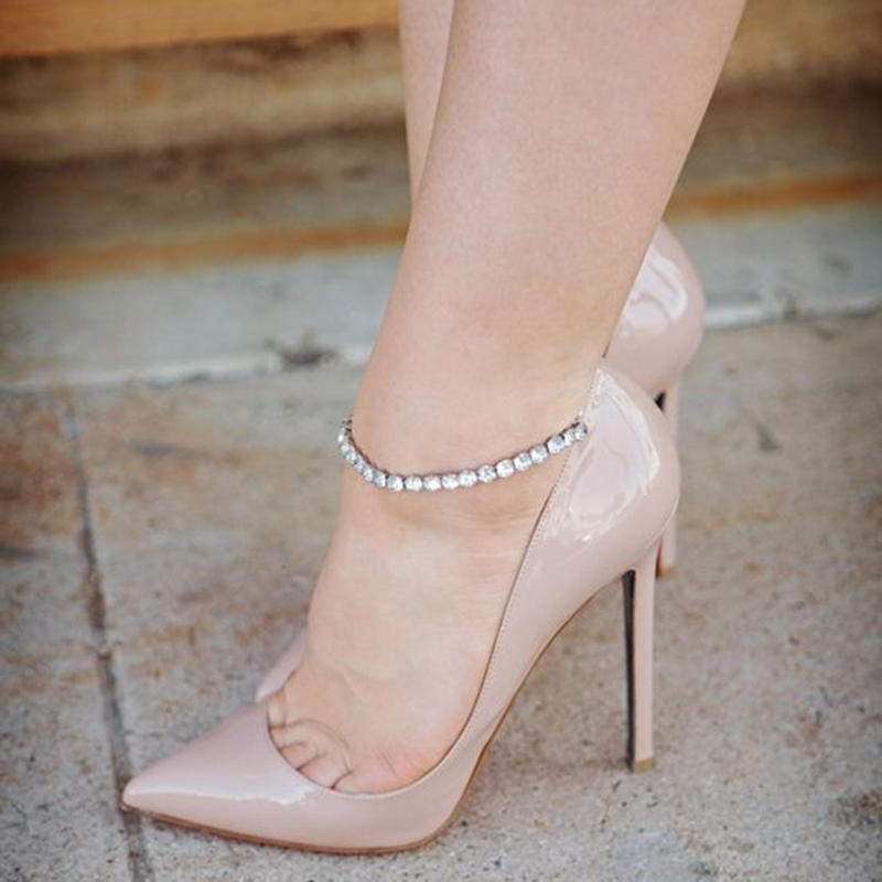 Ericdress Solid Color Ankle Wrap Pointed Toe Stiletto Heels