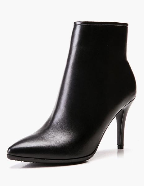 Milanoo Solid Color Stiletto Heel Pointed Toe Booties