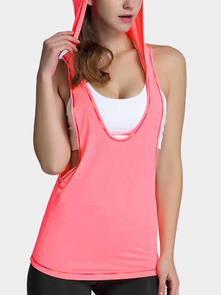 Yoins Pink Colorful lines Elastic Gym Hoodie