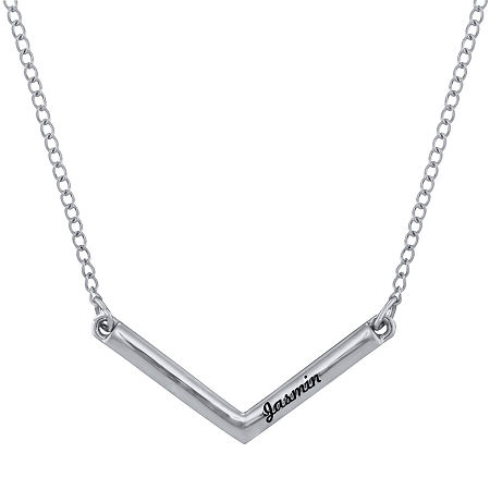 Personalized V-Shaped Engraved Necklace, One Size , White