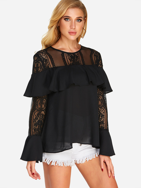 Yoins Black Tiered Design Round Neck Bell Sleeves Lace Insert Top