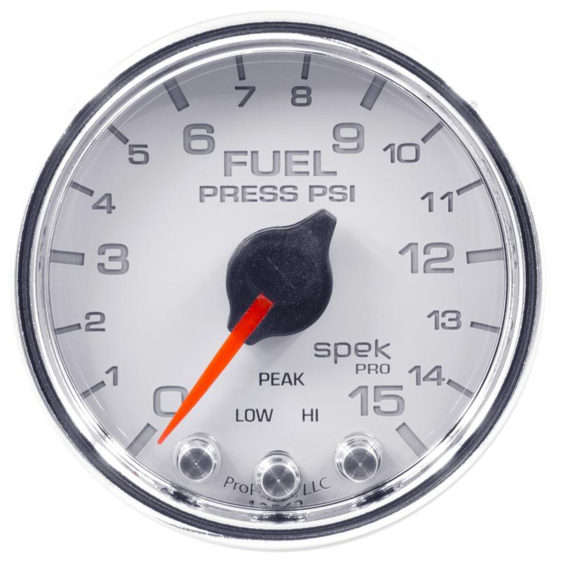 AutoMeter GAUGE; FUEL PRESS; 2 1/16in.; 15PSI; STEPPER MOTOR W/PEAK/WARN; WHT/CHRM; SPEK
