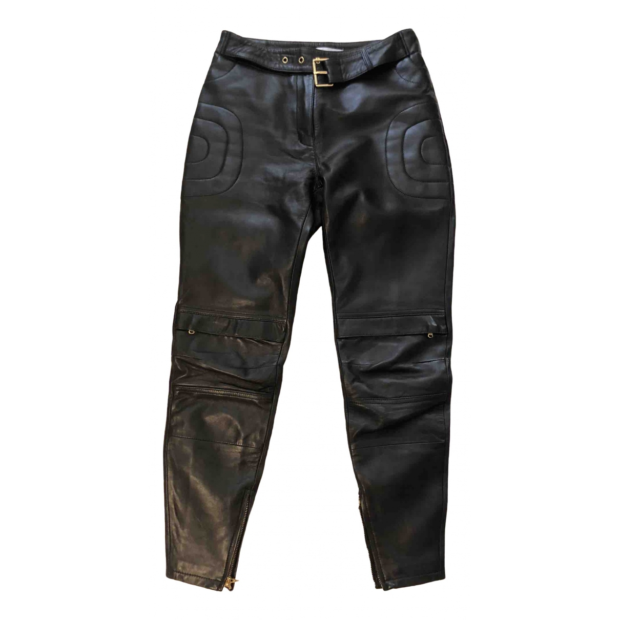 Moschino For H&m \N Black Leather Trousers for Women 34 FR