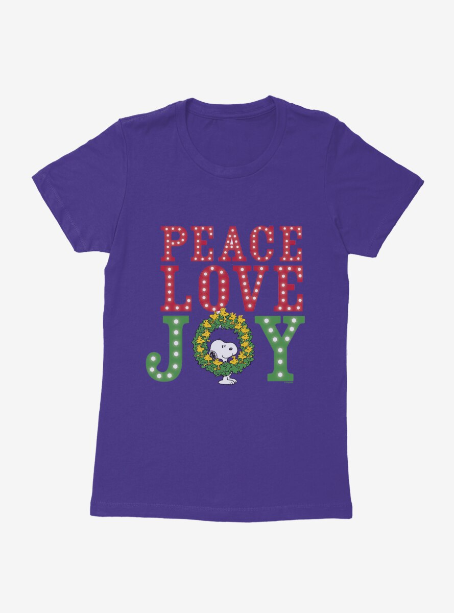 Peanuts Christmas Peace Joy & Love Snoopy Wreath Womens T-Shirt