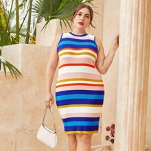 Plus Striped Bodycon Sweater Dress