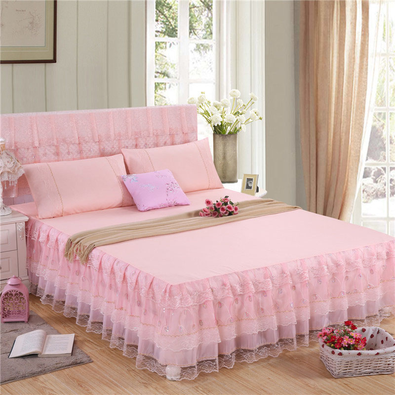 Solid Color Bed Skirt Simple Style Soft Lace Bed Skirts