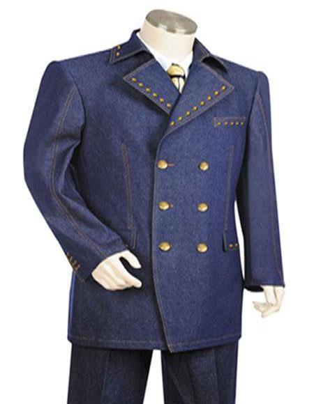 3 Button Wide Leg Pants Wool feel Navy Trousers Suit Jacket