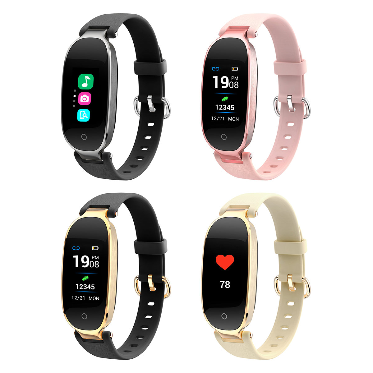 S3 Smart Heart Rate Watch Fashion Waterproof Bluetooth Sports Bracelet For Women Health Monitor