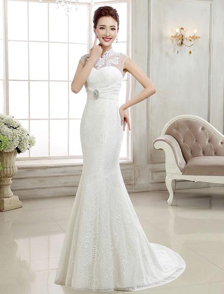 Milanoo Lace Wedding Dresses Ivory Mermaid Bridal Dress Backless Stand Collar Sleeveless Rhinestones Beaded Wedding Gown With Train