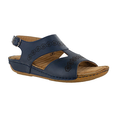 Easy Street Sloane Womens Adjustable Strap Footbed Sandals, 7 1/2 Wide, Blue