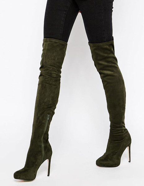 Milanoo Olive Thigh High Boots Womens Terry Round Toe Stiletto Heel Stretch Over The Knee Boots