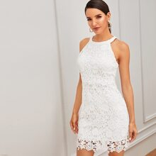 Solid Zip Back Guipure Lace Dress