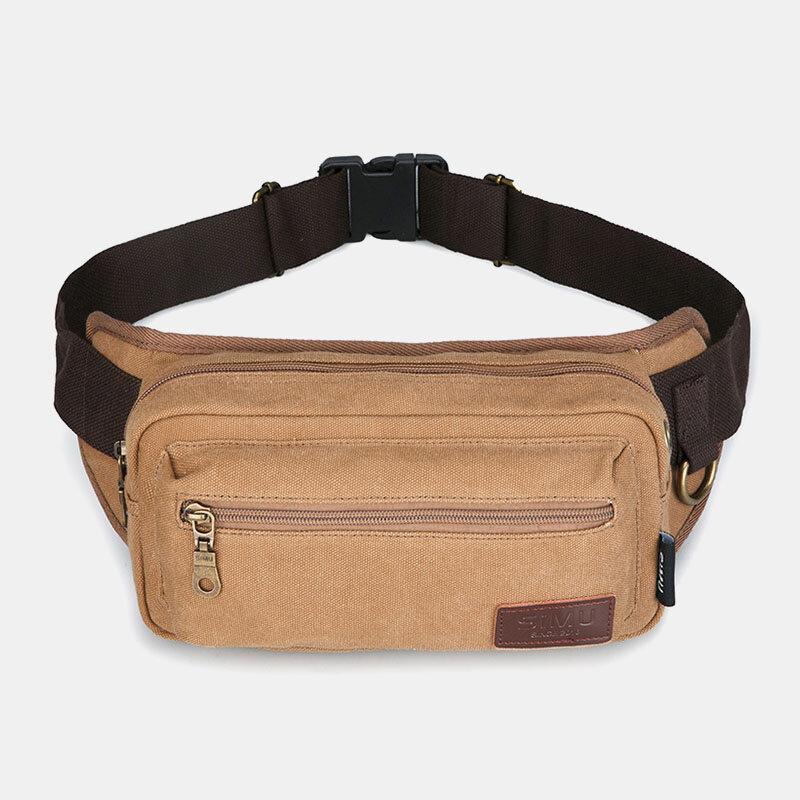 Men Canvas Outdoor Casual LargeCapacity Belt Bag Chest Bag