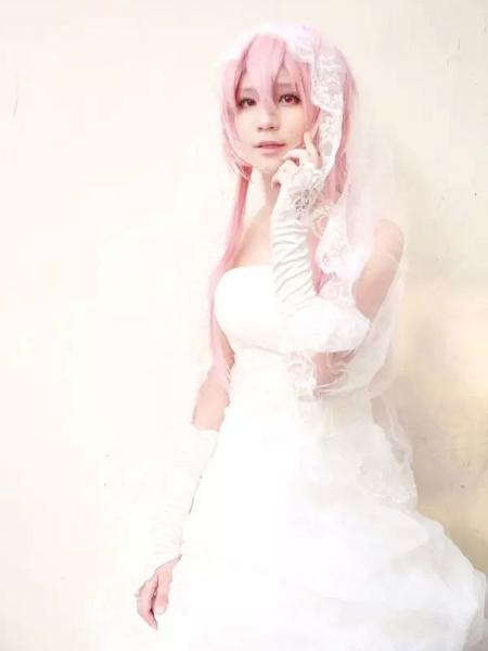 Milanoo The Future Diary Gasai Yuno Halloween Cosplay Costume Wedding Dress Version Halloween
