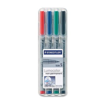 Stylos marqueurs Staedtler@ Lumocolor@ non permanents - 4 couleurs Set - Super fine point