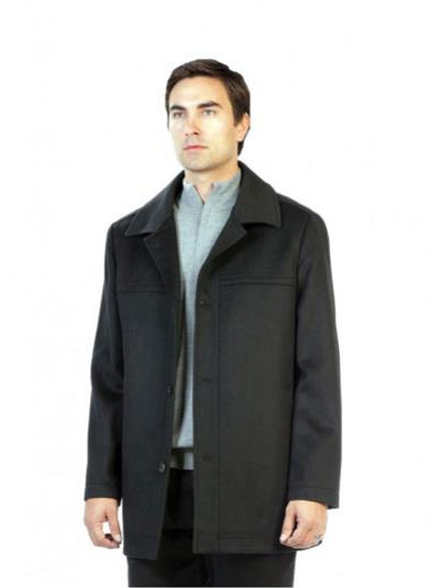 Mens Charcoal Pea Coat Outerwear