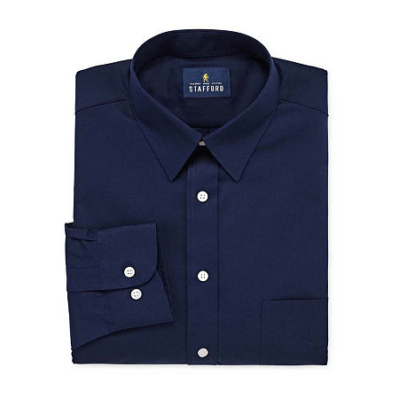 Stafford Mens Wrinkle Free Stain Resistant Stretch Super Dress Shirt, 17 36-37, Blue