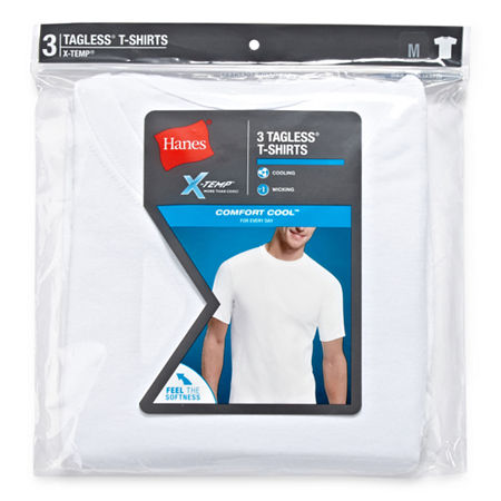 Hanes Men's X-Temp Comfort Cool FreshIQ Crewneck Undershirt 3-Pack, Large , White