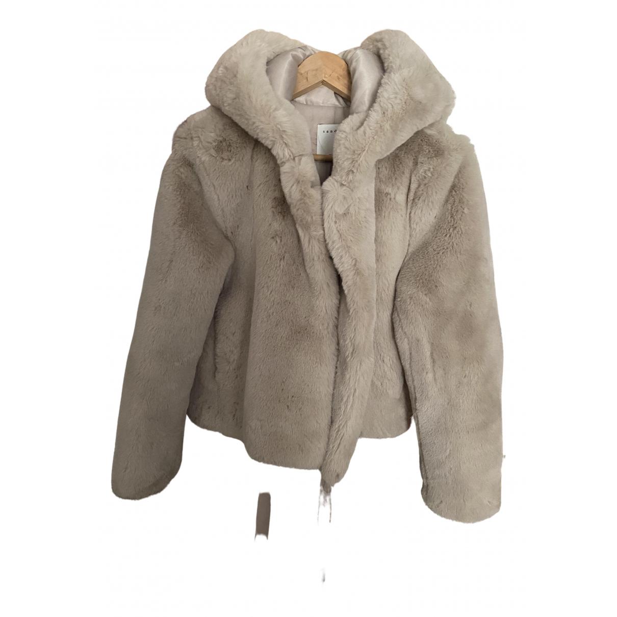 Sandro Fall Winter 2019 Ecru Faux fur coat for Women 40 FR