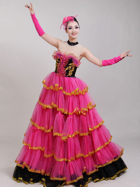 Milanoo Flamenco Girls Rose Off Sleeves Mesh Billowing Dancing Skirt Adults Spanish Dancer Ballroom Dress Paso Doble Costumes Halloween