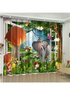 3D Happy Cartoon Children and Elephant Printed Custom Curtain for Living Room