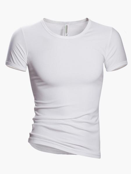 Milanoo Men T Shirt Casual V Neck Cotton Tee Top Short Sleeve T Shirt