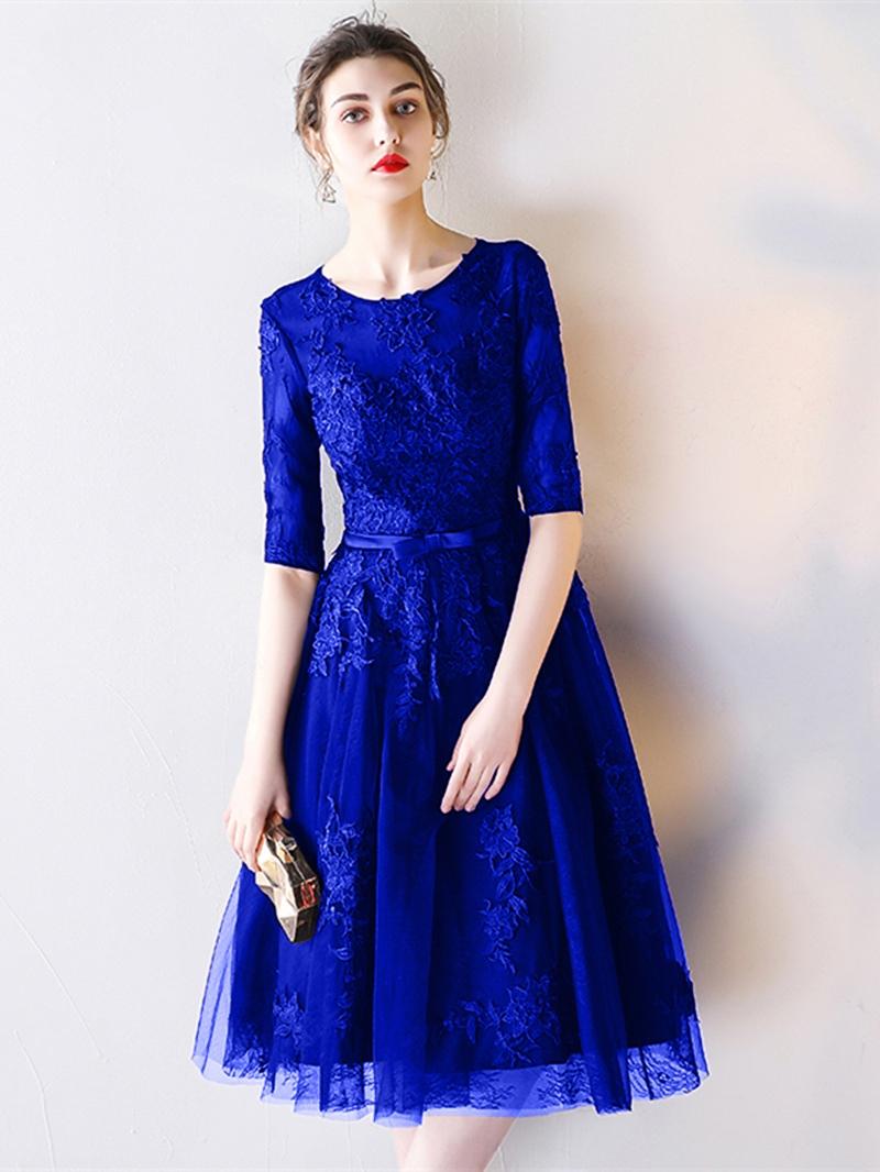 Ericdress Half Sleeve Lace Black Homecoming Dress