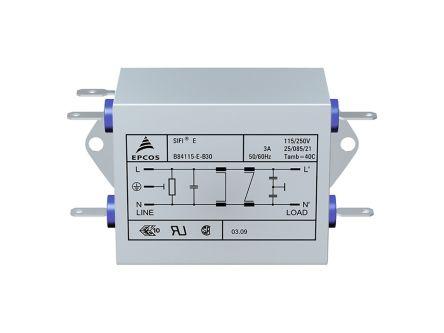 EPCOS , B84115E 3A 250 V ac/dc 50/60Hz Power Line Filter, Tab, Single Phase (32)
