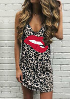 Leopard Lips Spaghetti Strap Mini Dress without Necklace