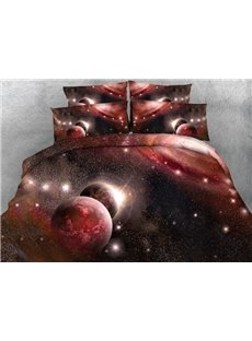 3D Red Galaxy and Planet Printed 5-Piece Comforter Sets