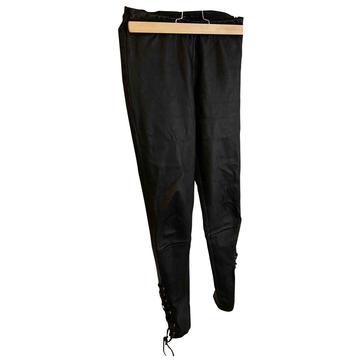 Uterque \N Black Leather Trousers for Women XS International