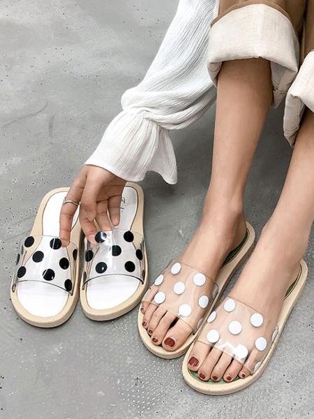 Milanoo Sandal Slippers Green PVC Upper Round Toe Slip-On Beach Sandal Slippers