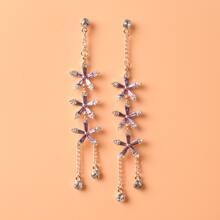 Crystal Flower Drop Earrings