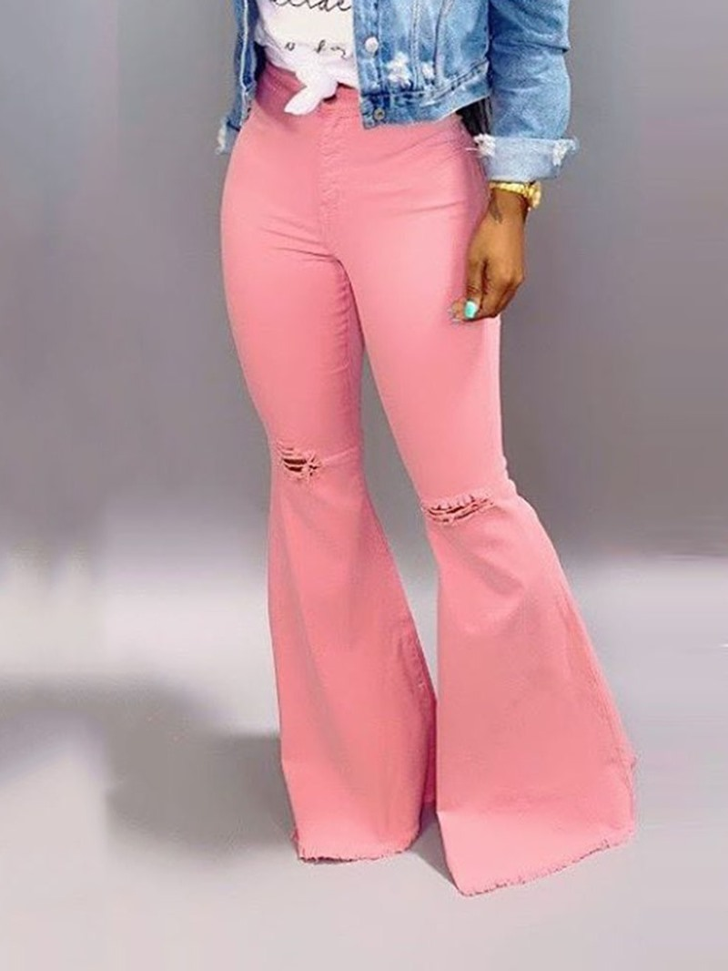 Ericdress Bellbottoms Ripped Plain Zipper Slim Jeans