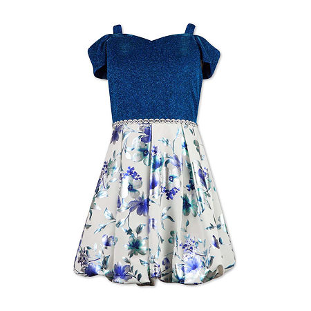 Speechless Big Girls Short Cold Shoulder Sleeve Fit & Flare Dress, 8 , Blue
