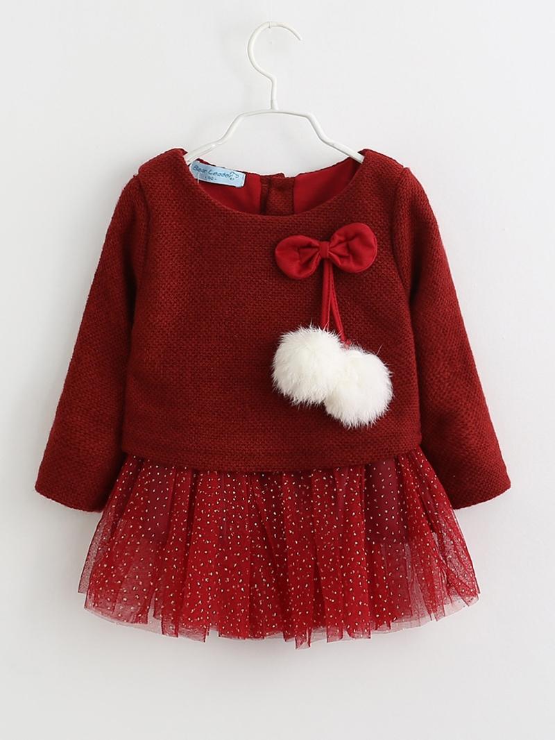 Ericdress Mesh Patchwork Bronzing Baby Girl's Dress