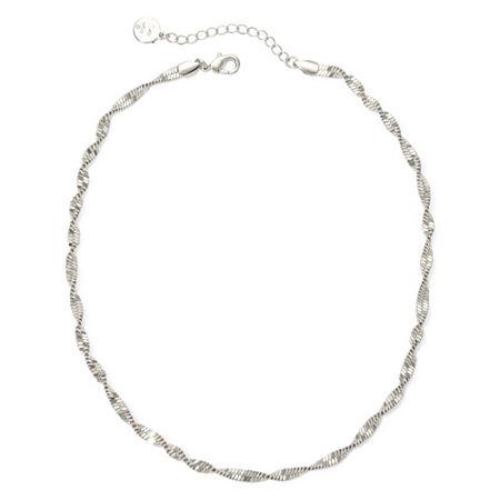 Liz Claiborne Silver-Tone Textured Twist Necklace, One Size , Silver