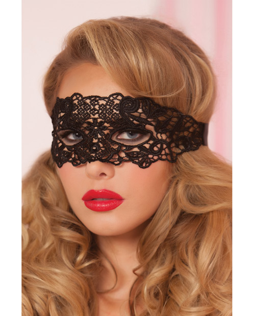 Seven Til Midnight Lace Eye Mask w/Satin Ribbon Ties Black  Black