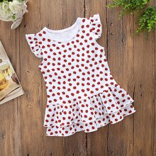 Toddler Girls Ladybug Print Ruffle Layered Smock Dress