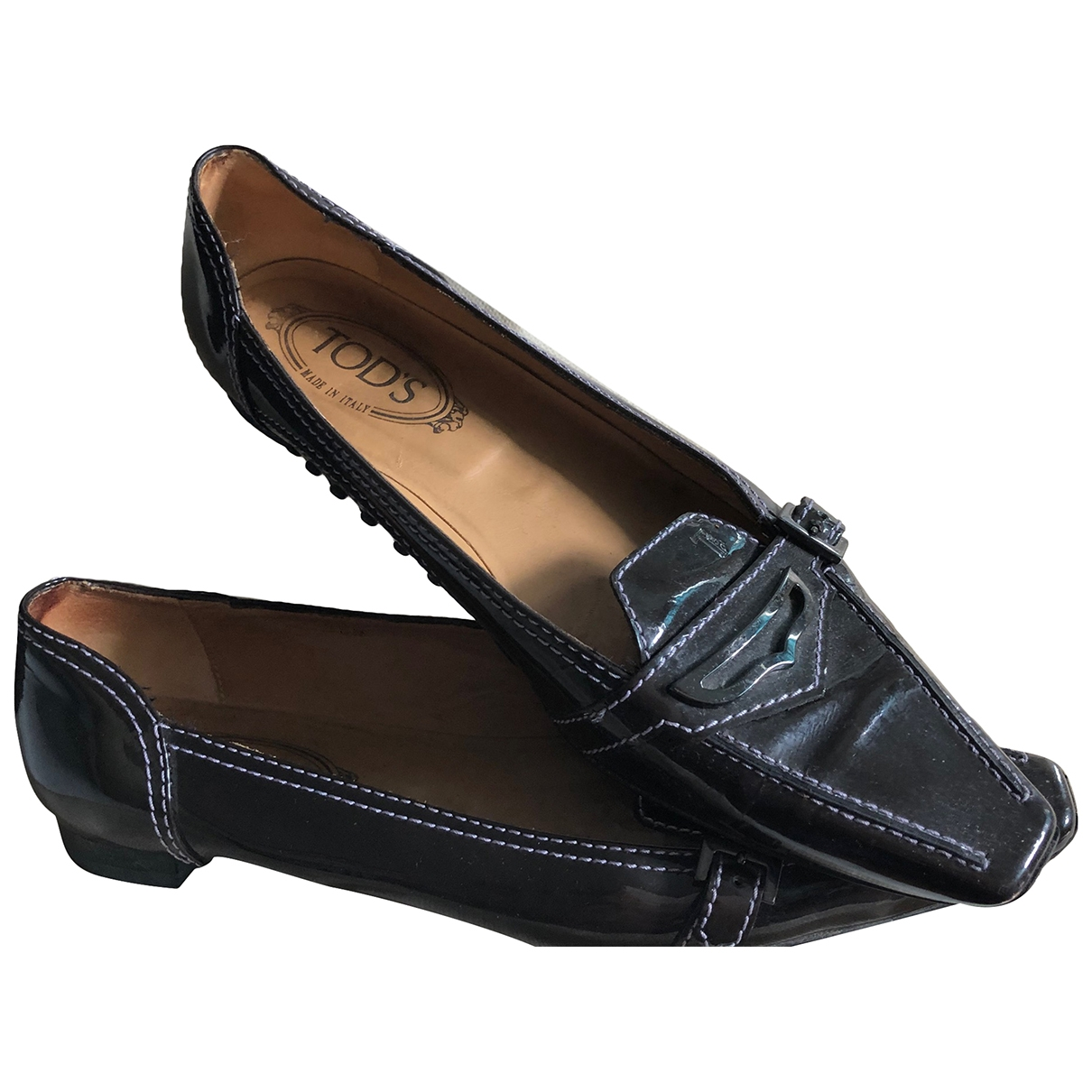 Tod's \N Brown Patent leather Flats for Women 38.5 EU